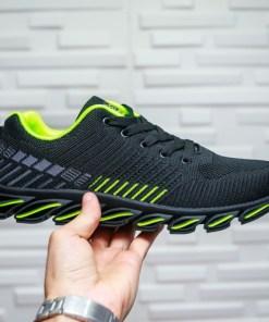 Pantofi barbati sport textil negri cu verde Ialinu