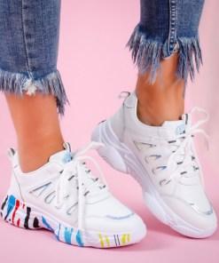 Pantofi dama sport piele ecologica albi Storima
