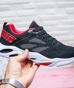 Pantofi dama sport textil negri cu rosu Rigami
