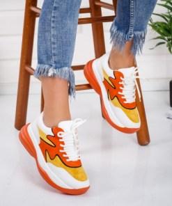 Pantofi sport dama piele ecologica portocalii Ucasia