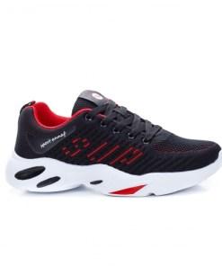 Pantofi sport dama textil negri cu rosu Pafaria
