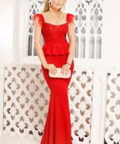 Rochie de seara rosie Fofy lunga cu paiete si fulgi