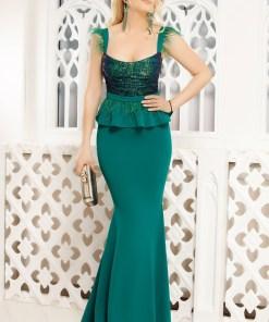 Rochie de seara verde Fofy lunga cu paiete si fulgi