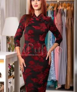 Rochie eleganta neagra cu flori rosii din catifea