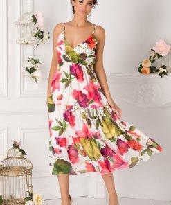 Rochie Isabella alba cu flori mari fucsia