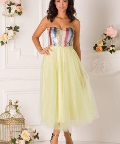 Rochie LaDonna verde lime cu paiete multicolore la bust