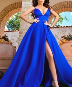 Rochie lunga albastra Atmosphere din tafta