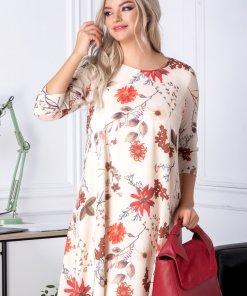 Rochie Mari evazata bej cu imprimeu floral maro