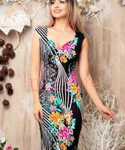 Rochie MBG neagra cu imprimeu floral