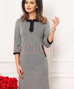 Rochie pepit cu insertie neagra