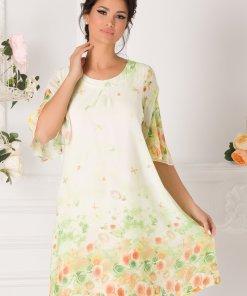 Rochie Sabrina verde cu imprimeuri florale