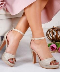 Sandale dama alte materiale cu toc aurii Virva