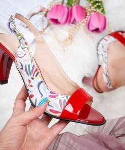 Sandale dama cu toc piele naturala albe cu rosu Sorila