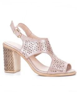 Sandale dama cu toc piele naturala bej inchis Fanilo