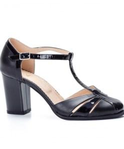 Sandale dama cu toc piele naturala negre Aialia