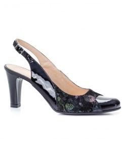 Sandale dama cu toc piele naturala negre Lagima