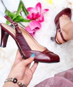 Sandale dama cu toc Piele naturala visinii Saliew