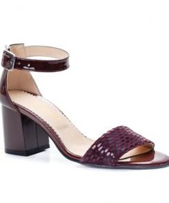 Sandale dama cu toc piele naturala visinii Vabitili