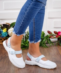 Sandale dama piele naturala albe Isalia medicinale