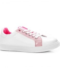 Tenisi dama sport piele ecologica albi cu roz Viati