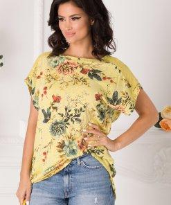 Tricou Marilu galben cu imprimeu floral