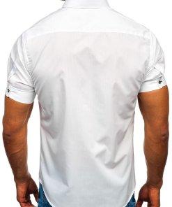Cămașă cu mâneca scurtă bărbați alb Bolf 5528
