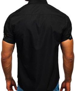 Cămașă cu mâneca scurtă bărbați negru Bolf 5528