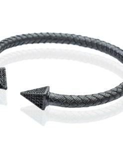 Bratara Argint Black Pyramids