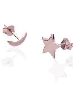 Cercei Argint Pink Star Moon