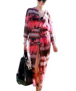 Q602-151 Rochie de plaja cu imprimeu colorat si elastic in talie