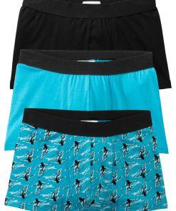 Chilot Boxer lunga bonprix - negru-albastru caribic imprimeu