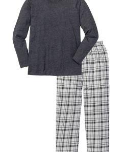 Pijama bonprix - antracit melanj cadrilat