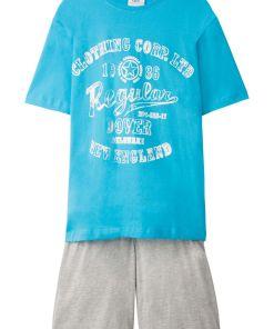 Pijama scurta (2piesa) bonprix - gri deschis melange/turcoaz