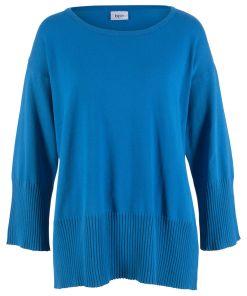 Pulover tricotata cu decolteu rosund bonprix - albastru