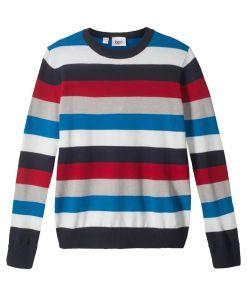 Pulover tricotatacu dungi bonprix - albastru/rosu/alb dungat