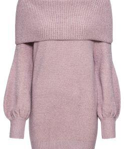 Pulover tricotata guler larg bonprix - liliachiu marmorat