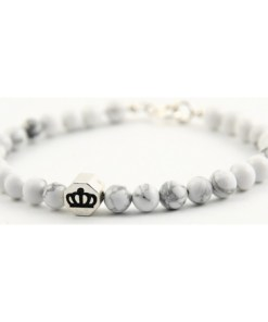 Bratara Stylish Rocks White Marble pentru barbati din pietre naturale si Argint, M