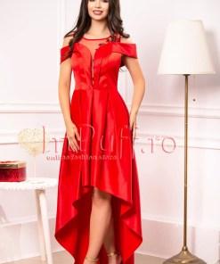 Rochie de ocazie lunga din tafta rosie si tul