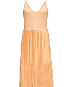 Rochie midi cu poala plisată bonprix - orange soft