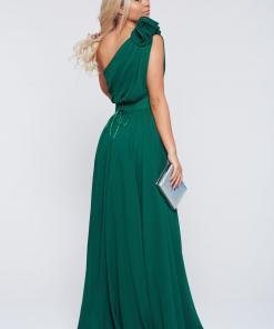 Rochie Ana Radu verde-inchis de lux in clos din voal pe umar accesorizata cu cordon si aplicatii florale