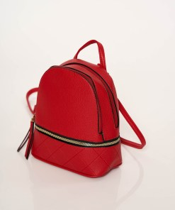 Rucsac rosu casual cu bretele ajustabile bretele detasabile accesorizat cu fermoar