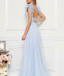 Rochie Ana Radu albastru-deschis de lux cu decolteu adanc din tul captusita pe interior cu bust buretat