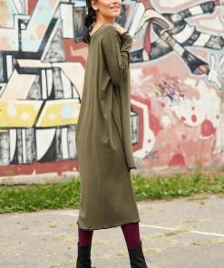Rochie khaki casual asimetrica din bumbac cu croi larg pe umar cu maneci lungi
