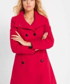 Palton evazat cu nasturi - Piros