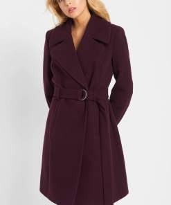 Palton tip halat cu cordon - Violet