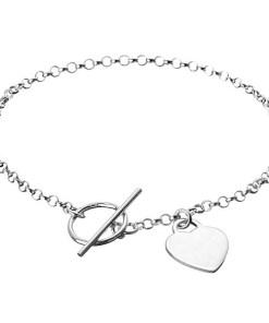 Bijuterii eshop - Bratara argint - inima plata pe lantisor, închidere inel Y56.10