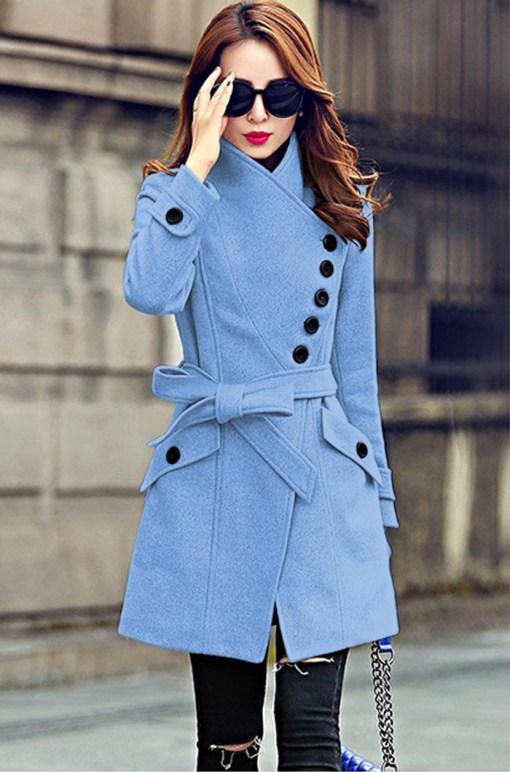 Palton stofa Chloe Bleu