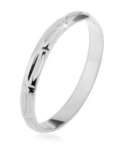 Bijuterii eshop - Inel argint 925 - gravuri verticale ?i orizontale, suprafata lucioasa J8.5 - Marime inel: 50