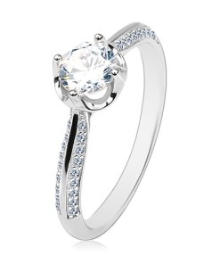 Bijuterii eshop - Inel de logodna, din argint 925, brate proeminente, zirconiu rotunda?i transparent AA34.10 - Marime inel: 60