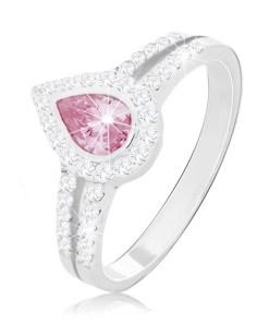 Bijuterii eshop - Inel de logodna din argint 925, lacrima roz în mijlocul celor doua linii cu zirconii M12.11 - Marime inel: 49